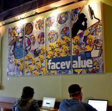 Rooz Cafe Oakland CA Art Show by artist Bryan Boutwell featuring Facebook Painting