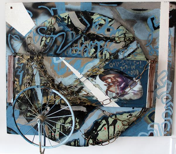 Chained To The Ghetto, Abstract Mixed Media abstract raised relief sculpture painting by Bryan Matthew Boutwell, trapped in the ghetto, Runnamuck Syracuse Ny,San Francisco Art Galleries, NYC Art Galleries, Live Fiction, Oakland Artists