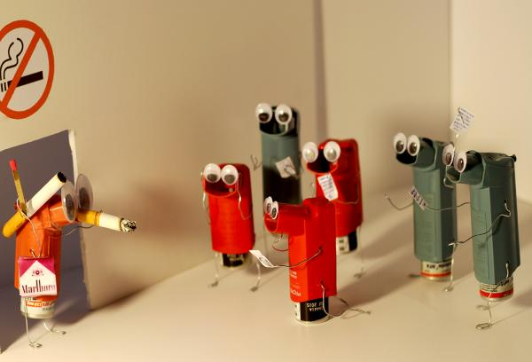 The Intervention of an Inhaler is art using asthma inhalers by artist Bryan Boutwell at The McLoughlin Art Gallery, San Francisco CA