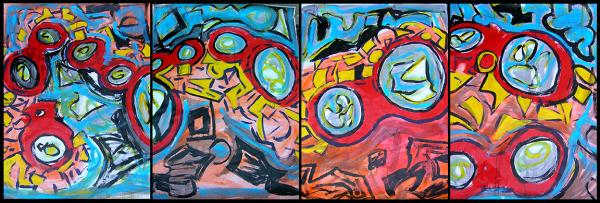 The Chicken or The Egg?,Bryan Matthew Boutwell, large abstract painting, San Francisco Art Galleries,Oakland Artist, B.C. Lounge Syracuse NY,Live fiction