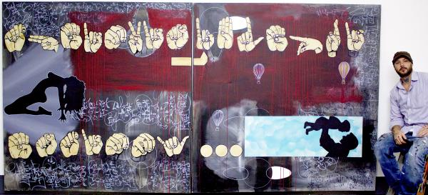 Signs Of Change, large scale abstract painting,Bryan Matthew Boutwell,acrylic,spray paint,oil marker,on canvass,sign language, hands, getting sober for our children, San Francisco Art Galleries,Oakland CA artists,original and modern abstract art