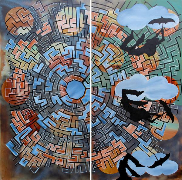 The Attempt is a large maze painting about the struggle of an art career by artist Bryan Boutwell at The McLoughlin Art Gallery, San Francisco CA