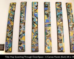 Hop Scotching Through Outer Space, Large scale 6 panel abstract painting by Bryan Mathew Boutwell, Oakland Artist,San Francisco Art Galleries, NYC Art Galleries,Live Fiction.net