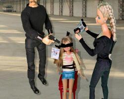 Ransom Barbie is a dark pop art miniature scale model scene by artist Bryan Boutwell at The McLoughlin Art Gallery, San Francisco.