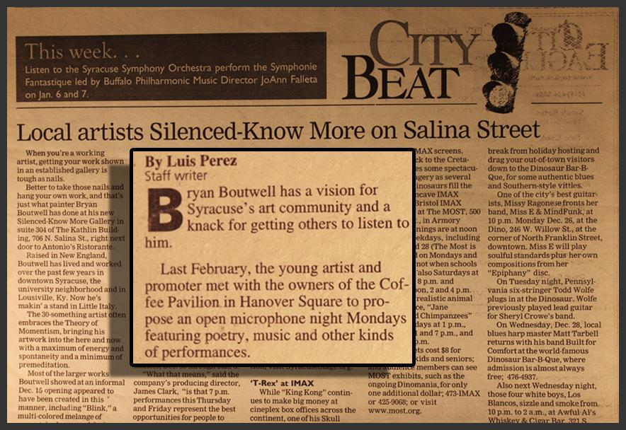 The Eagle Newspaper-Central NY Area-Featured Article & Interview with Art Gallery Owner Bryan Matthew Boutwell (Silenced Know More Gallery)